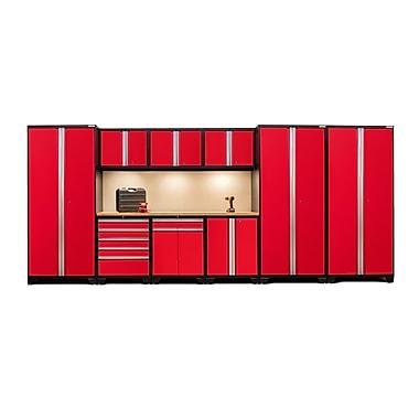 NewAge Products – Ensemble d'armoires pour garage série Pro 3.0 en 10 pièces, surface de travail en bambou, rouge (52351)