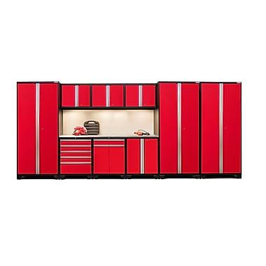 NewAge Products – Ensemble d'armoires pour garage série Pro 3.0 en 10 pièces, surface de travail en acier inox., rouge (52352)