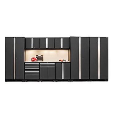 NewAge Products – Ensemble d'armoires pour garage série Pro 3.0 en 10 pièces, surface de travail en acier inox., gris (52152)