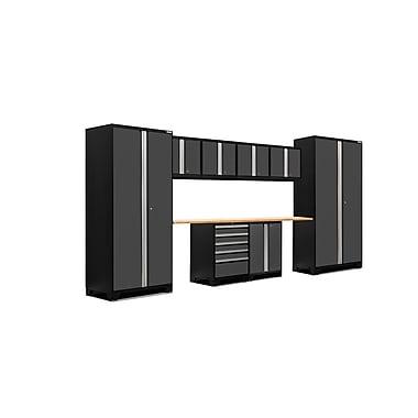 NewAge Products – Ensemble d'armoires pour garage série Pro 3.0 en 10 pièces, surface de travail en bambou, gris (52050)