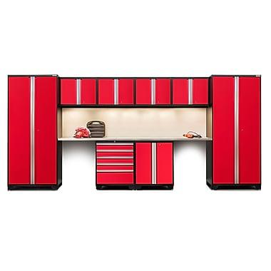 NewAge Products – Ensemble d'armoires pour garage série Pro 3.0 en 10 pièces, surface de travail en acier inox., rouge (52254)