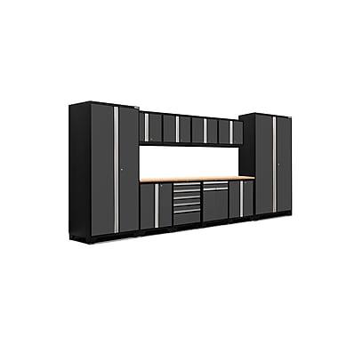 NewAge Products – Ensemble d'armoires pour garage série Pro 3.0 en 12 pièces, surface de travail en bambou, gris (52153)