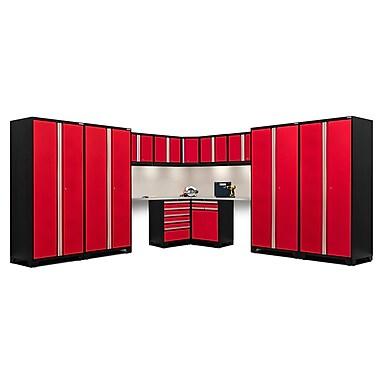NewAge Products – Ensemble d'armoires pour garage série Pro 3.0 en 14 pièces, surface de travail en acier inox., rouge (52374)