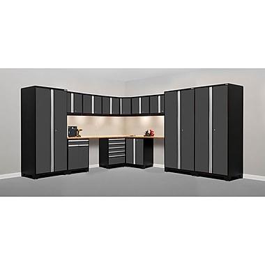 NewAge Products – Ensemble d'armoires pour garage série Pro 3.0 en 15 pièces, surface de travail en bambou, gris (52155)
