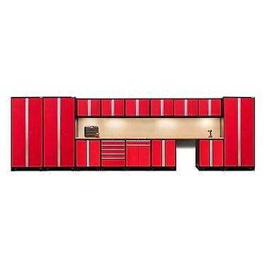 NewAge Products – Ensemble d'armoires pour garage série Pro 3.0 en 16 pièces, surface de travail en bambou, rouge (52356)