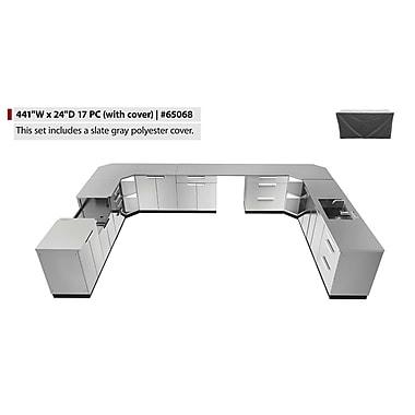 NewAge Products – Ensemble d'armoires de cuisine en 17 pièces pour l'extérieur avec housse, acier inoxydable (65068)