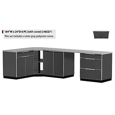 NewAge Products – Ensemble d'armoires de cuisine 6 pièces pour l'extérieur avec housses, aluminium ardoise (65271)