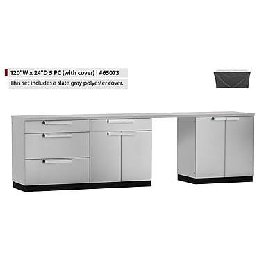 NewAge Products – Ensemble d'armoires de cuisine 5 pièces pour l'extérieur avec housses, acier inoxydable (65073)