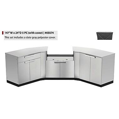 NewAge Products – Ensemble d'armoires de cuisine 7 pièces pour l'extérieur avec housses, acier inoxydable (65074)