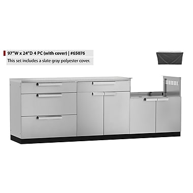 NewAge Products – Ensemble d'armoires de cuisine en 4 pièces pour l'extérieur avec housse, acier inoxydable (65076)