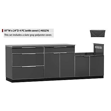 NewAge Products – Ensemble d'armoires de cuisine en 4 pièces pour l'extérieur avec housse, aluminium ardoise (65276)