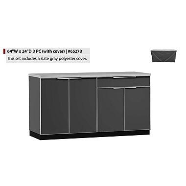 NewAge Products – Ensemble d'armoires de cuisine en 3 pièces pour l'extérieur avec housse, aluminium ardoise (65278)
