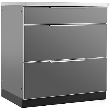 NewAge Products Outdoor Kitchen 3-Drawer Cabinet, Aluminum Slate (65202)