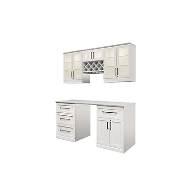 New Age Products – Ensemble Home Bar 6 pièces, 72 x 25 po, style shaker, blanc (60051)