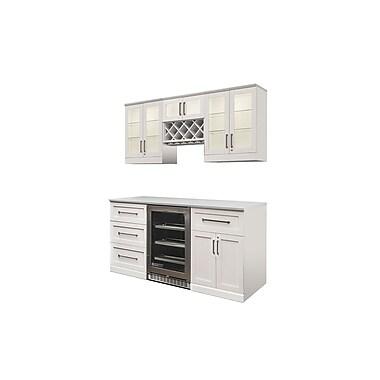 sNew Age Products – Ensemble en 7 pièces de la série Vin et Bar, 72 x 25 po, style Shaker, blanc (60098)