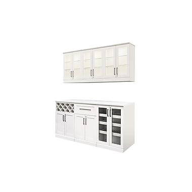 New Age Products – Ensemble en 7 pièces de la série Vin et Bar, 72 x 25 po, style Shaker, blanc (60055)