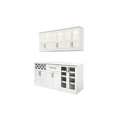 New Age Products – Ensemble en 7 pièces de la série Vin et Bar, 72 x 17 po, style Shaker, blanc (60095)