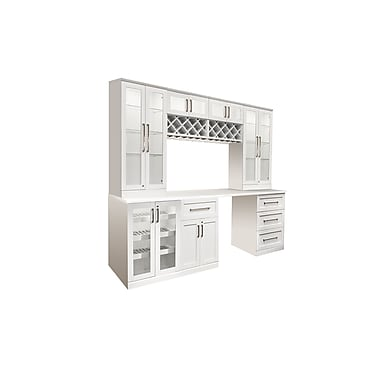 New Age Products – Ensemble Home Bar 8 pièces, 96 x 25 po, style shaker, blanc (60091)