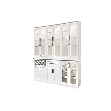 New Age Products – Ensemble Home Bar 7 pièces, 72 x 25 po, style shaker, blanc (60056)