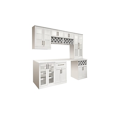 New Age Products – Ensemble Home Bar 8 pièces, 72 x 25 po, style shaker, blanc (60068)