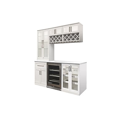 New Age Products – Ensemble Home Bar 7 pièces, 72 x 25 po, style shaker, blanc (60071)