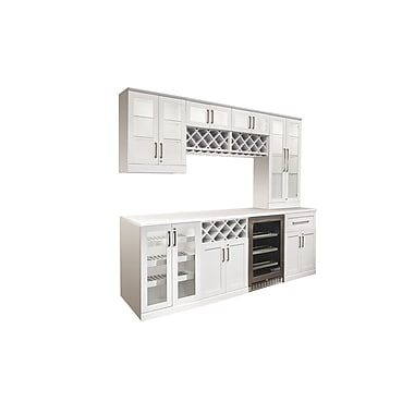 New Age Products – Ensemble Home Bar 9 pièces, 96 x 25 po, style shaker, blanc (60067)