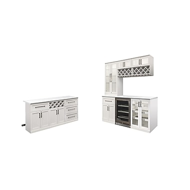 New Age Products – Ensemble Home Bar 11 pièces avec îlot, style Shaker, blanc (60078)