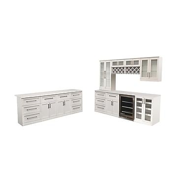 New Age Products – Ensemble Home Bar 13 pièces avec îlot, style Shaker, blanc (60076)