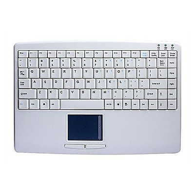 AdessoSlimTouch 410 Wired USB Mini Touchpad Keyboard, White (AKB-410UW)