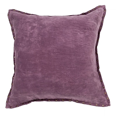 Gracie Oaks Castor Solid Cotton Throw Pillow; Purple