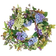 Worth Imports Hydrangea Wreath in Blue w/ Leaves and Berries