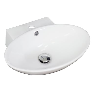 American Imaginations Ceramic Oval Vessel Bathroom Sink w/ Overflow