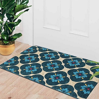 A1 Home Collections LLC First Impression Engineered Anti Shred Treated Yahir Floral Doormat