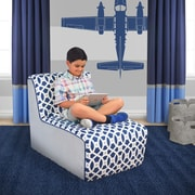 kangaroo trading company Tween Kids Chaise Lounge; Blue/White/Gray