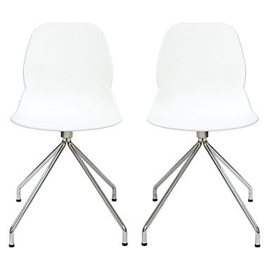 Cathay Importers – Chaise d'appoint Eliana avec pattes chromées, blanc, paq./2