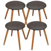 Cathay Importers – Tabourets Kara de lin avec pattes en bois, charbon, 17 haut. x 14,5 diam. (po), paq./4