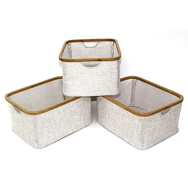 Cathlay Importers – Paniers rectangulaires pliables de lin en bambou, 9,5 haut. x 21 larg. x 13,5 prof. (po), paq./3