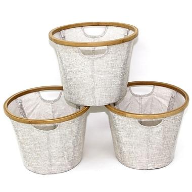 Cathlay Importers – Paniers ronds pliables de lin en bambou, 10,5 haut. x 14 diam. (po), paq./3