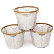 Cathlay Importers – Paniers ronds pliables de lin en bambou, 11 haut. x 16 diam. (po), paq./3