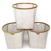 Cathlay Importers – Paniers ronds pliables de lin en bambou, 16 haut. x 17,5 diam. (po), paq./3