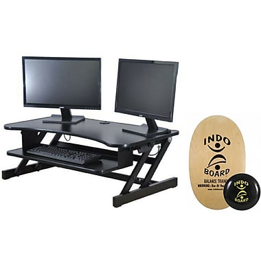 Rocelco DADR Deluxe Extra-Wide Adjustable Height Desk Riser & Indo Board Balance Board Standing Desk Bundle