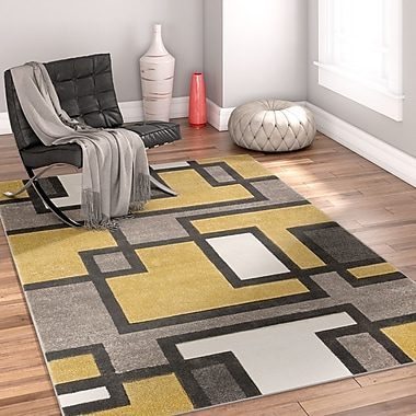 Well Woven Imagination Square Gold/Gray Area Rug; 6'7'' x 9'3''