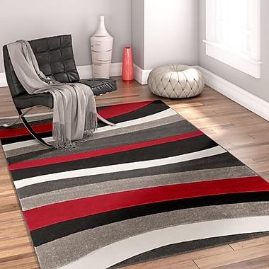Well Woven Rad Wave Red/Gray Area Rug; 5'3'' x 7'3''