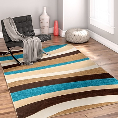 Well Woven Rad Wave Blue/Brown Area Rug; 7'10'' x 9'10''
