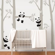 SimpleShapes Tree w/ Pandas Wall Decal; Brown/White
