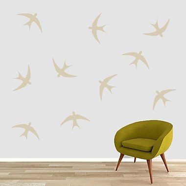 SweetumsWallDecals Swallow Bird Wall Decal (Set of 10); Beige