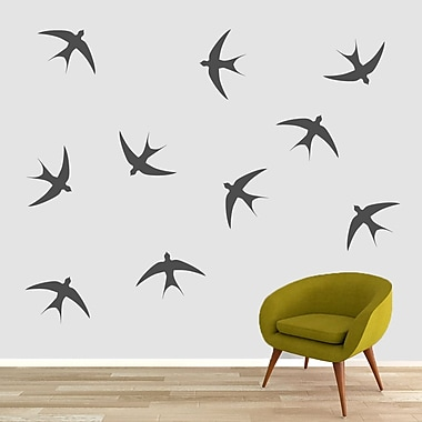 SweetumsWallDecals Swallow Bird Wall Decal (Set of 10); Dark Gray