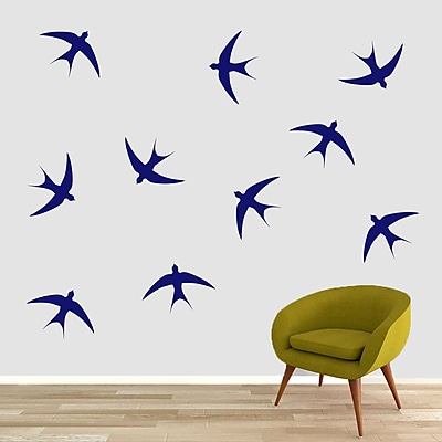 SweetumsWallDecals Swallow Bird Wall Decal (Set of 10); Navy