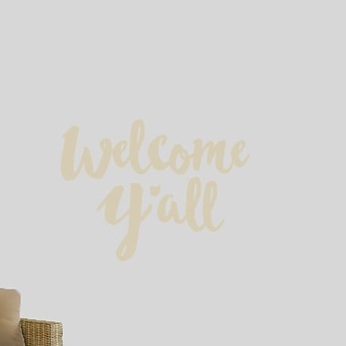 SweetumsWallDecals Welcome Y'all Ohio Wall Decal; Beige