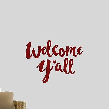SweetumsWallDecals Welcome Y'all Ohio Wall Decal; Cranberry